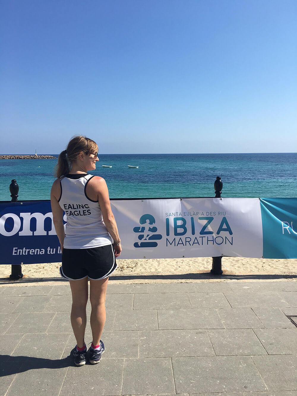 Donna running in Ibiza