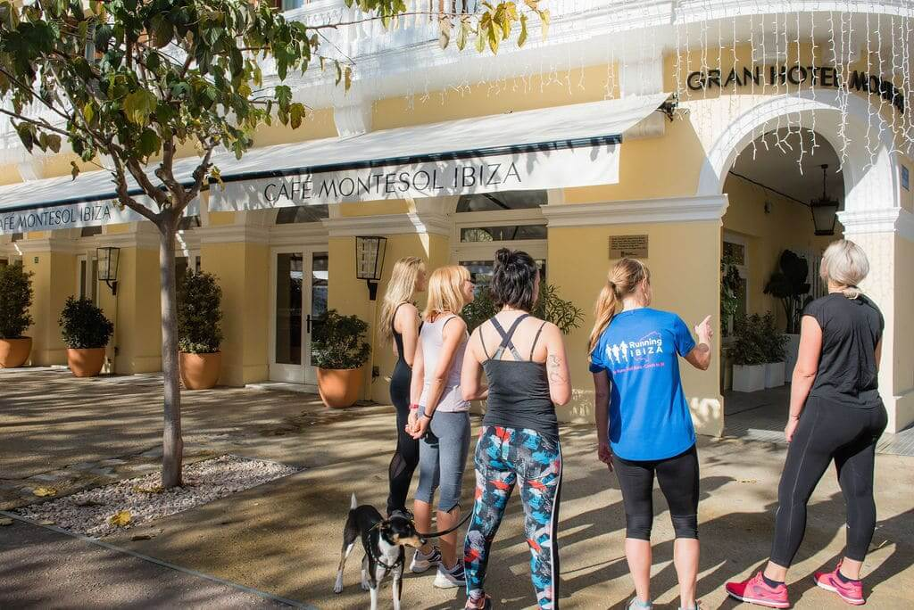 Running Tour visiting Cafe Montesol Ibiza Town