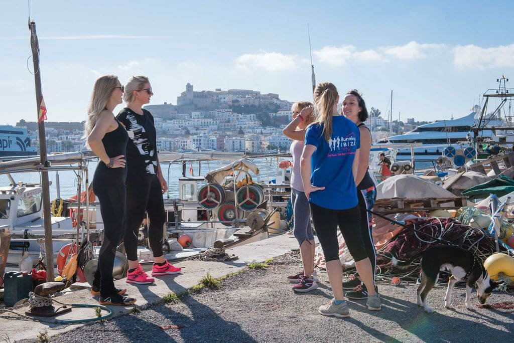 Running Tour visiting Ibiza Town Fishing Port