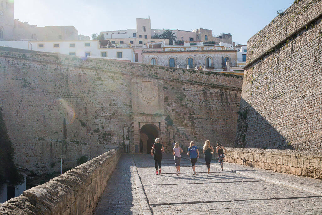 Running Tour on Ramp up to Dalt Vila in Ibiza Town
