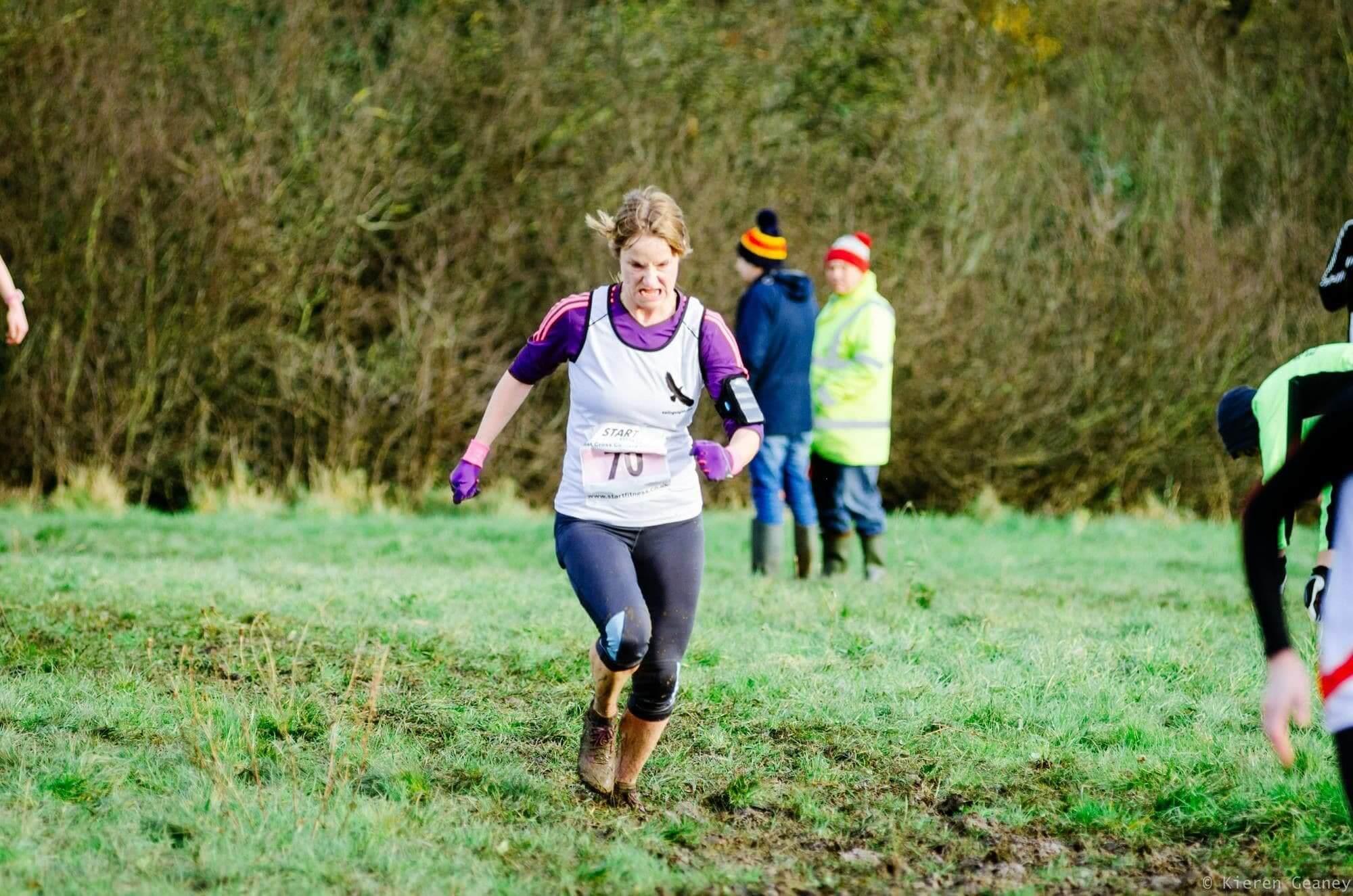 Woman in cross country race